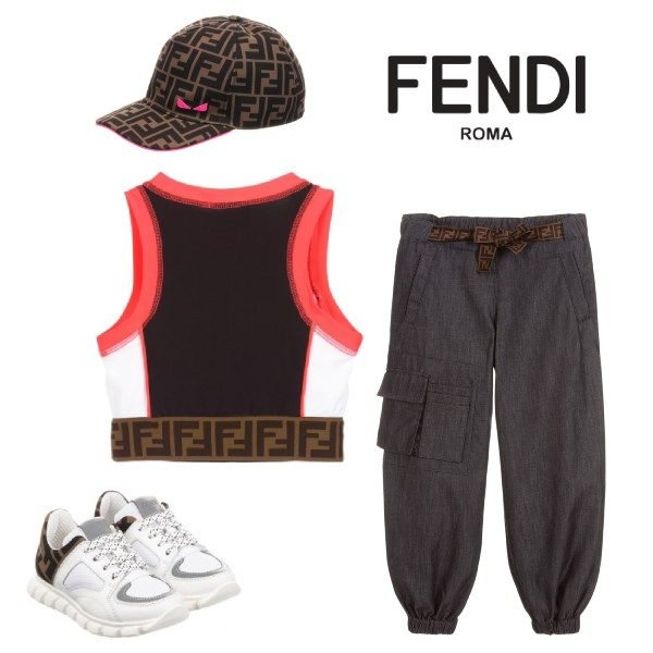 FENDI GIRLS BLACK LOGO CROP TOP & BLUE CHAMBRAY PANTS Fendi Logo Baseball Hat