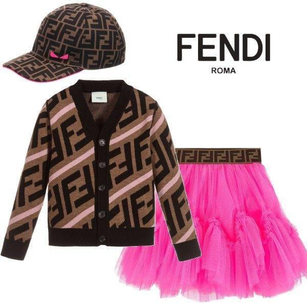 FENDI GIRLS BROWN PINK RELOADED FF LOGO CARDIGAN SWEATER Brown Logo hat