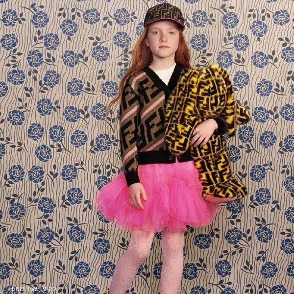 Fendi Girl Brown Pink FF Logo Cardigan Sweater