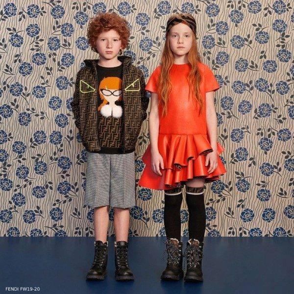 Fendi Girl Orange Ruffle Dress Boys Brown FF Logo Hooded Shirt