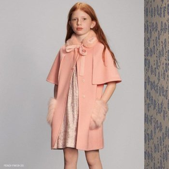 Fendi Girls Pink Wool & Fur Coat