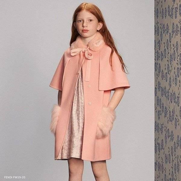Fendi Girls Pink Wool & Fur Coat