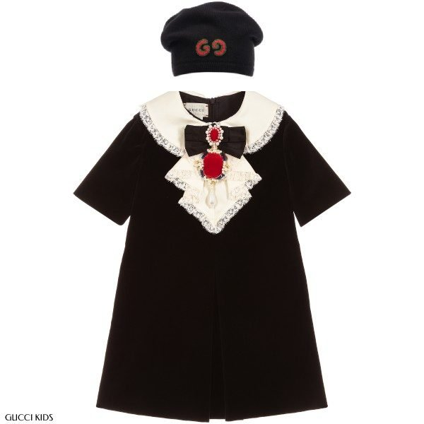 Gucci Girl Black Velvet Silk Dress Logo Knit Hat