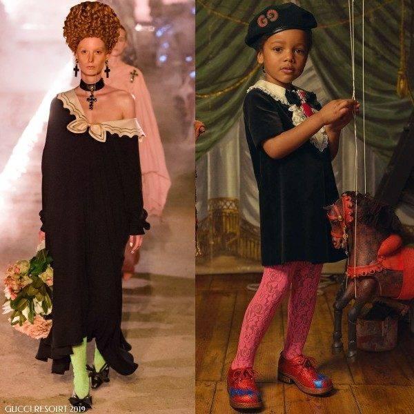 Gucci Girl Mini Me Black Velvet Renaissance Dress with Bow