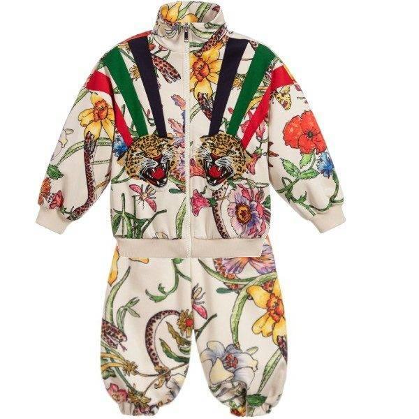 Gucci Girls Flora Print Tiger Zip Up Sweatshirt Pants