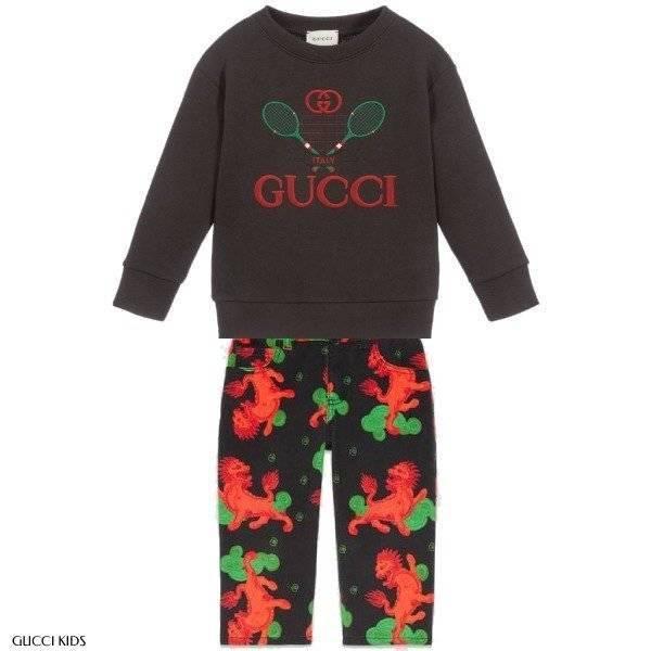 Gucci Grey Tennis Sweatshirt Dragon Print Pants