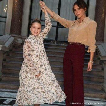 Harper and Victoria Beckham LFW Bonpoint Beige Silk Floral Print Dress