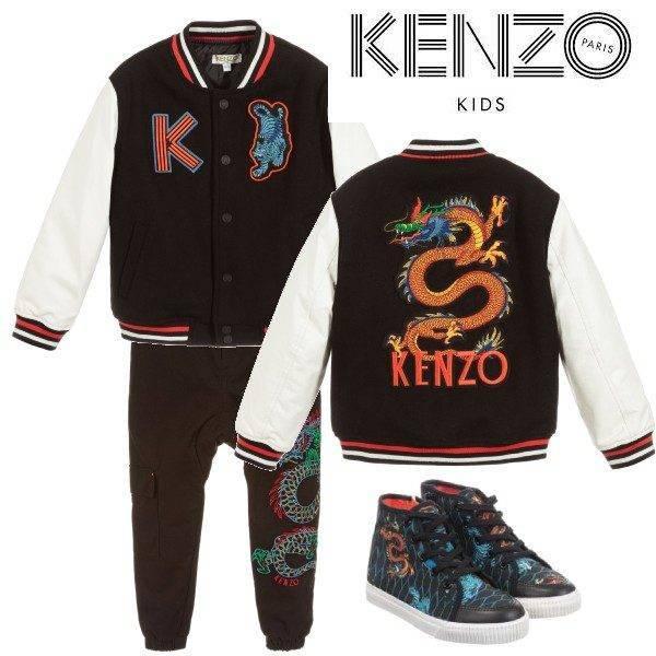 Kenzo Kids Boys Black Dragon & Tiger Logo Bomber Jacket