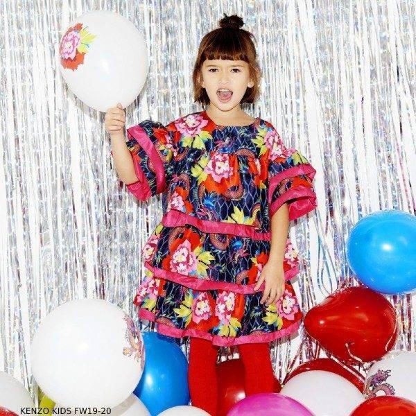 Kenzo Girl Mini Me Japanese Floral Print Blue & Pink Dress