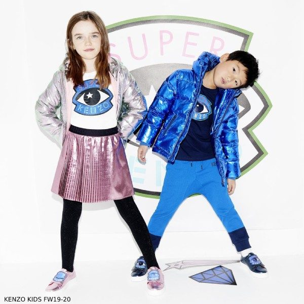 Kenzo Kids Super Hero Pink Metallic Jacket Skirt