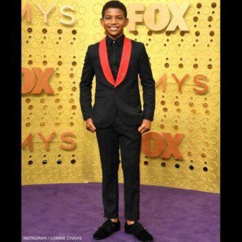 Lonnie Chavis Emmy Awards 2019 Stella McCartney Boys Black & Red Wool Suit
