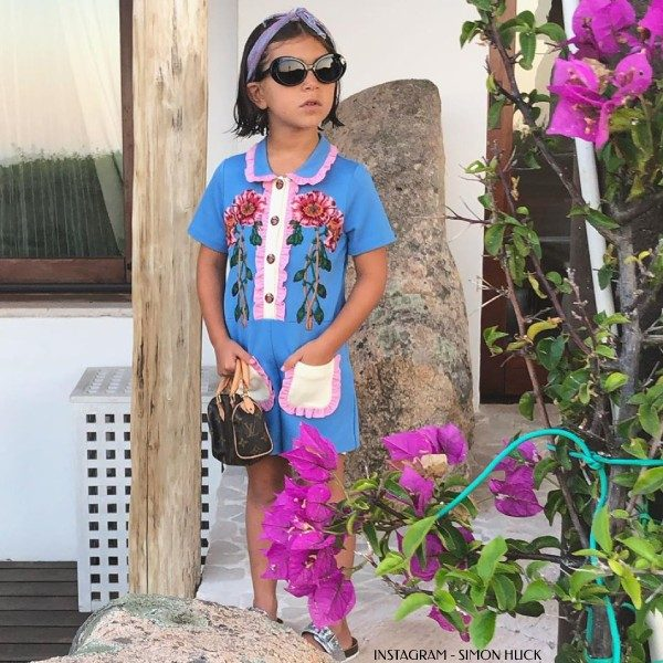Penelope Disick - GUCCI GIRLS BLUE JERSEY FLORAL PLAYSUIT