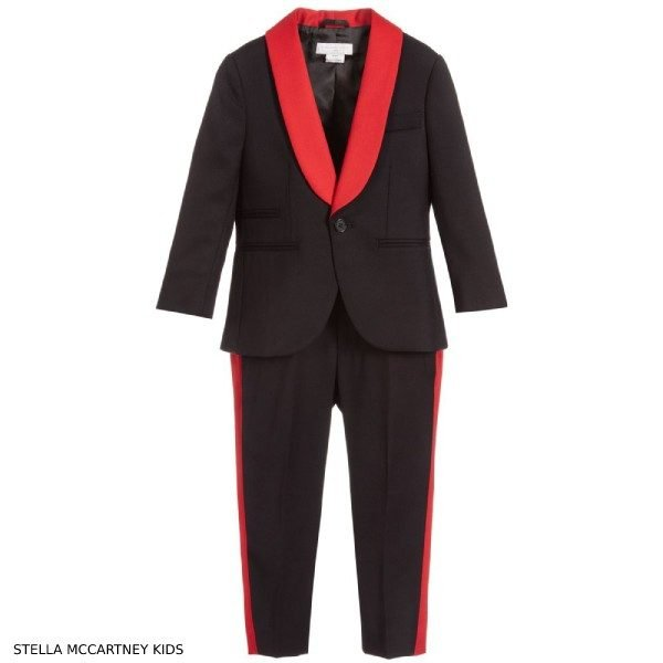 Stella McCartney Kids Boys Black & Red Wool Suit