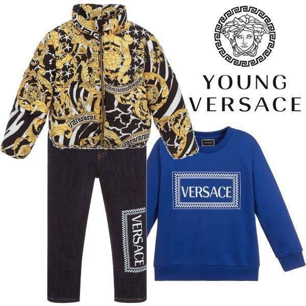 Young Versace Boy Blue Logo Sweatshirt & Savage Baroque Print Jacket