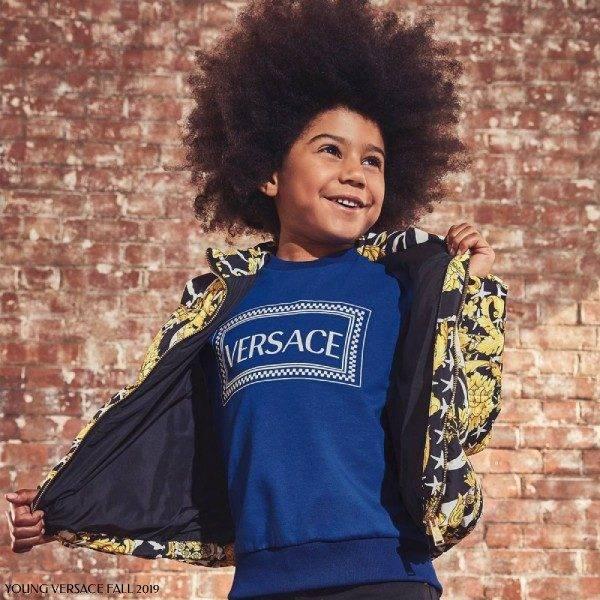 Young Versace Boy Blue Logo Sweatshirt Gold Black Savage Baroque Print Jacket
