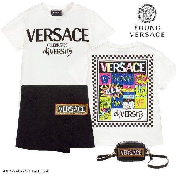 Young Versace Celebrates Diversity T-Shirt Black Logo Skirt
