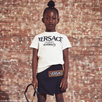 Young Versace Celebrates Diversity White T-shirt Black 90s Logo Vintage Skirt
