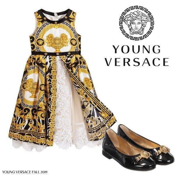 Young Versace Girl Mini Me Savage Baroque Print Black Gold Dress