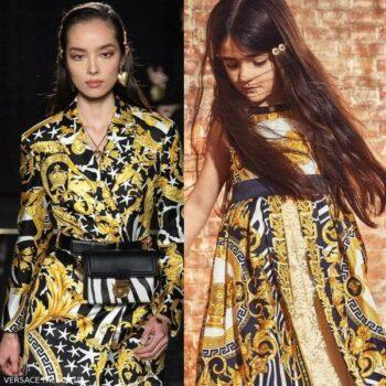 Young Versace Mini Me Girls Savage Baroque Print Black Gold Silk Dress