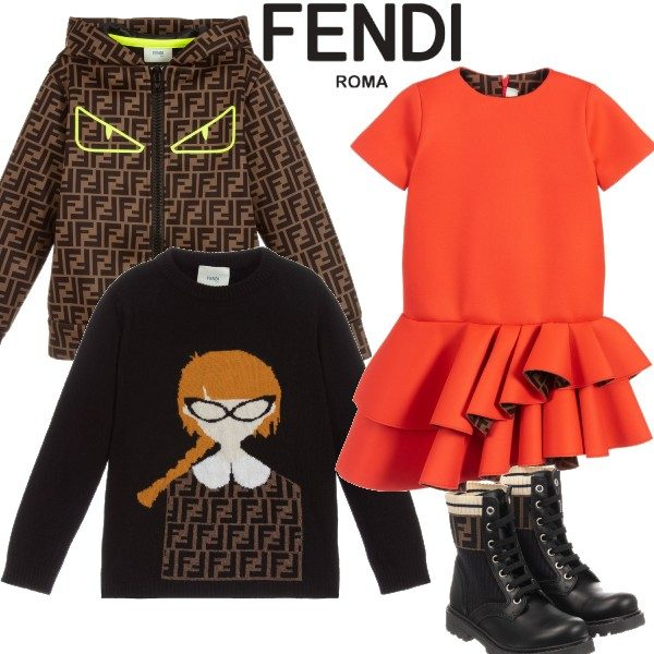 FENDI GIRL ORANGE RUFFLE DRESS & BOYS BROWN FF LOGO HOODED SHIRT