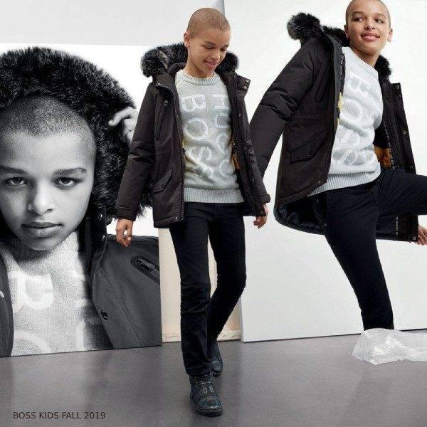 BOSS Boys Black Faux Fur Hooded Parka Coat