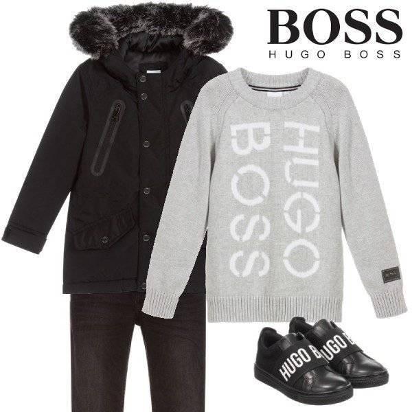 BOSS Boys Black Faux Fur Hooded Parka Coat Grey Logo Sweater