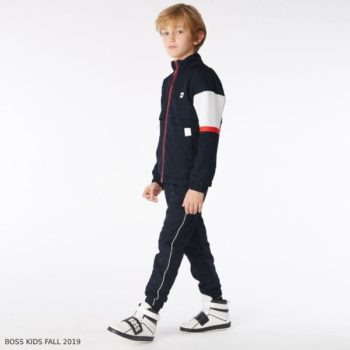 BOSS Boys Navy Blue Red & White Tracksuit
