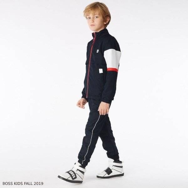 BOSS Boys Navy Blue Red & White Tracksuit