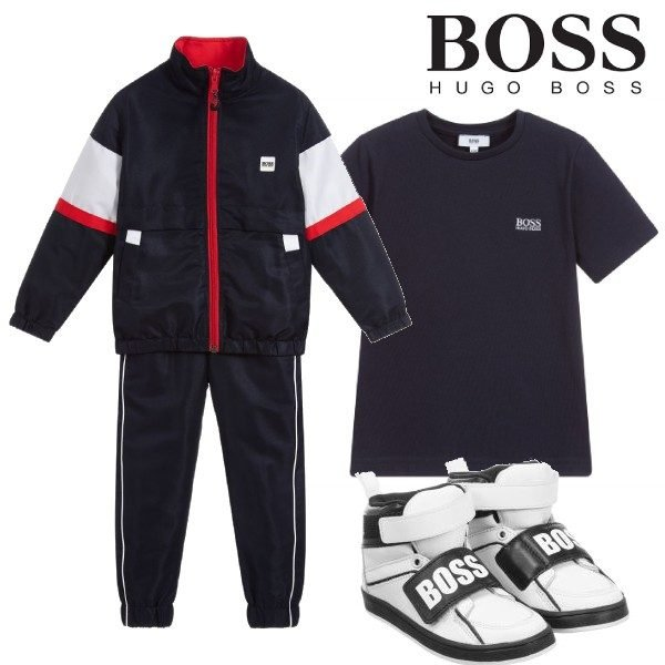 BOSS Boys Navy Blue Red & White Tracksuit. White Leather Logo Shoes