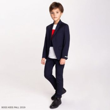 BOSS Boys Navy Blue Special Occasion Suit