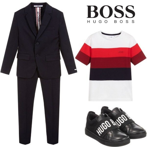 BOSS Boys Navy Blue Special Occasion Suit Red White Stripe T-Shirt