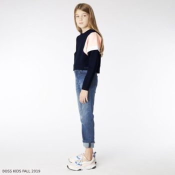 BOSS Girl Navy Blue & Pink Cropped Sweatshirt