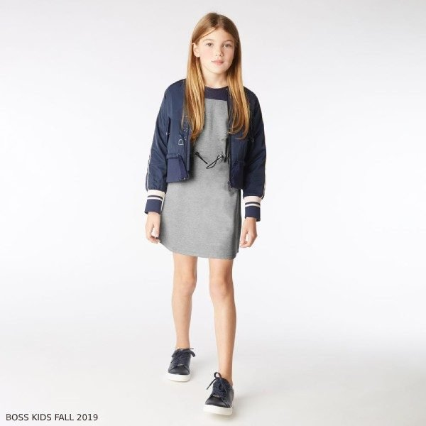 BOSS Girls Grey Milano Jersey Navy Blue Mesh Dress