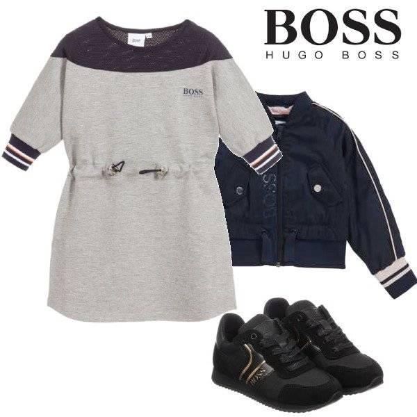 BOSS Girls Grey Milano Jersey Navy Blue Mesh Dress Blue Windbreaker Jacket