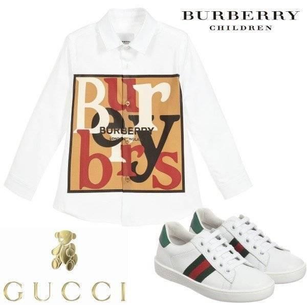 Burberry Boys White Graphic Scarf Logo Print Shirt
