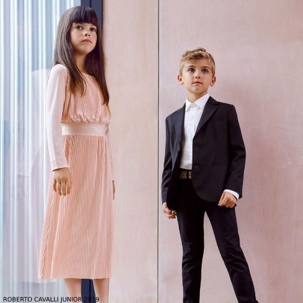 Emporio Armani Girl Pink Pleated Dress Boys Blue Wool Suit