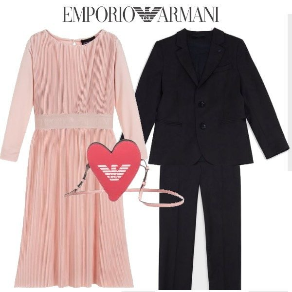 Emporio Armani Girl Pink Pleated Dress Boys Blue Wool Suit Outfit