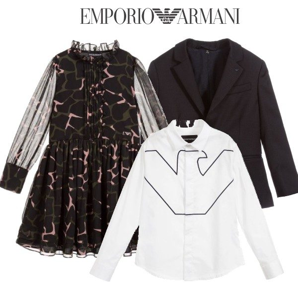 Emporio Armani Girls Black Camo Chiffon Dress Boys Blue Navy Blazer White Cotton Eagle Shirt Outfit