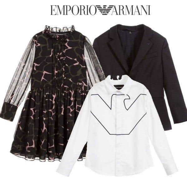 Emporio Armani Girls Black Camo Chiffon Dress Amp Boys Blue