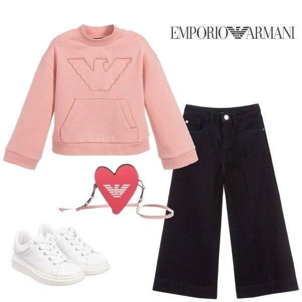 Emporio Armani Girls Pink Logo Sweatshirt Blue Denim Wide Leg Pants Outfit