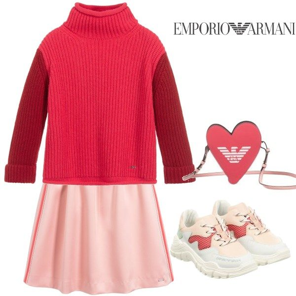 Emporio Armani Girls Pink Wool Sweater Pink Satin Skirt Outfit