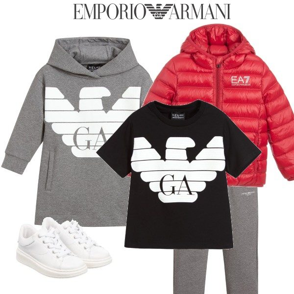 Emporio Armani Girls R-EA-MIX Grey Sweatshirt Dress Boys Red Puffer Coat