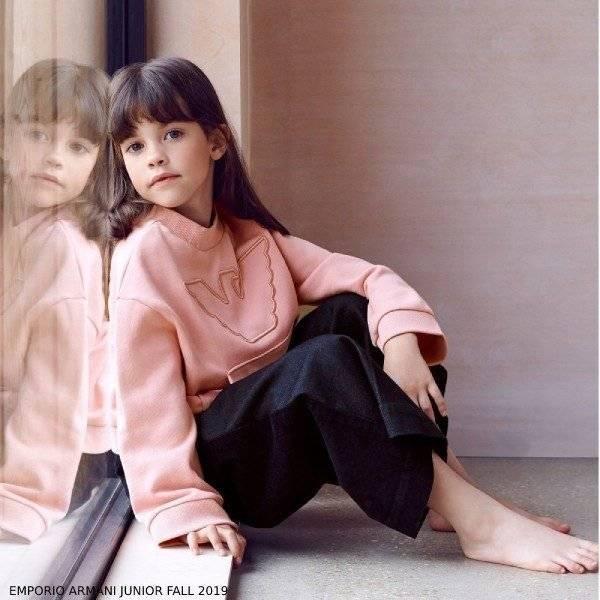 Emporio Armani Junior Girls Pink Logo Sweatshirt Blue Denim Wide Leg Pants Outfit