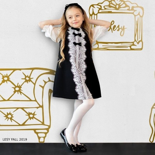 Lesy Girl Black & White Lace & Velvet Bow Party Dress
