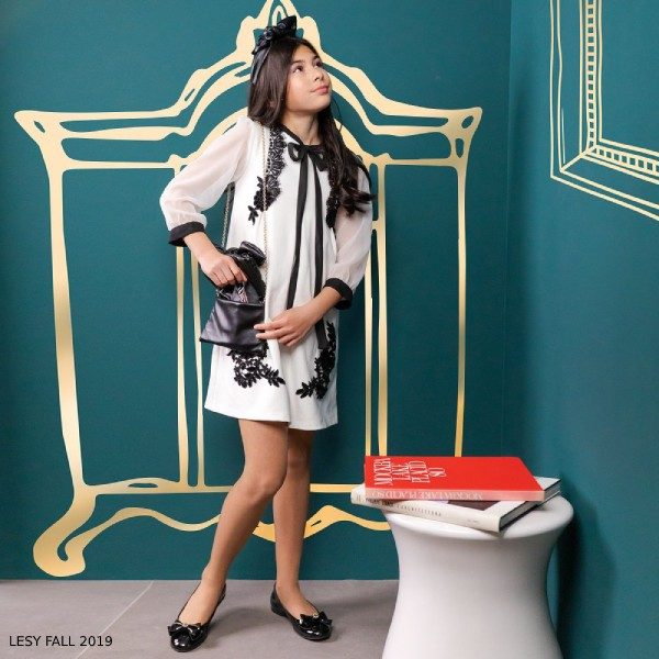 Lesy Girl Ivory & Black Velvet Lace & Chiffon Party Dress