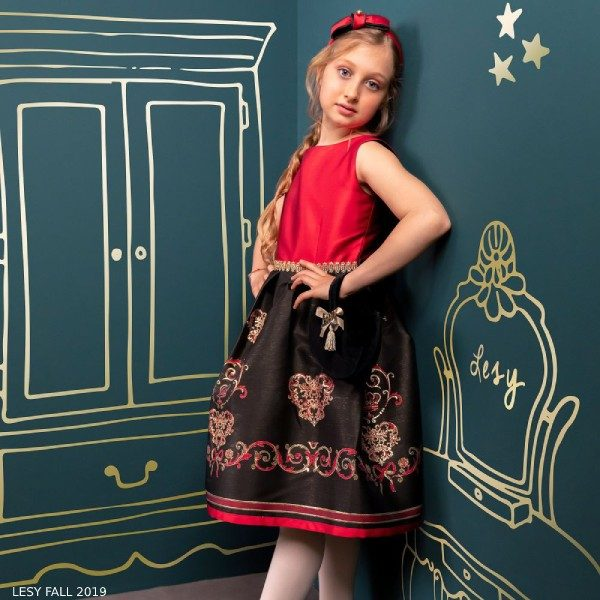 Lesy Girl Red & Black Jacquard Silk Filigree Pattern Party Dress