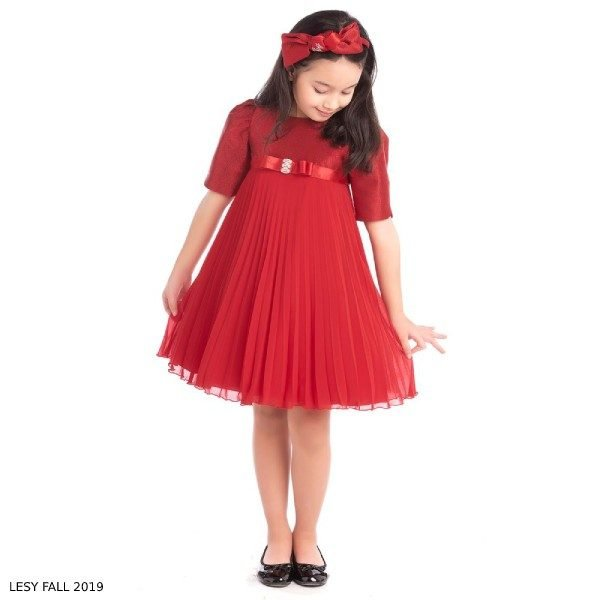 Lesy Girl Red Sparkly Pleated Chiffon Party Dress