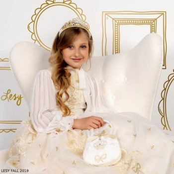 Lesy Girls Ivory & Gold Bow Crown Party Dress