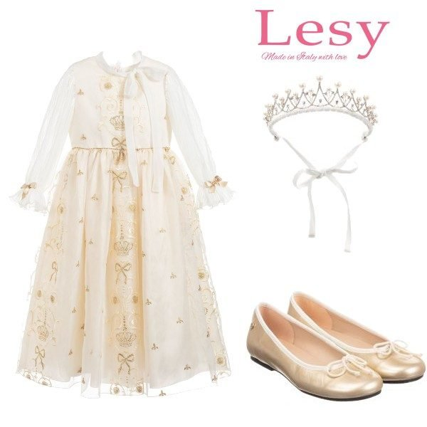 Lesy Girls Ivory & Gold Bow Crown Party Dress Jewelled Crown Gold Shoes