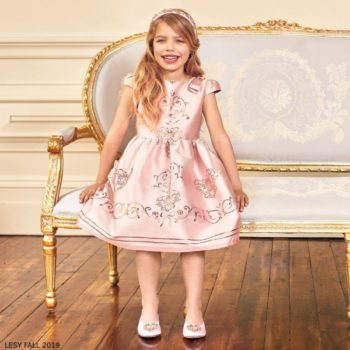 Lesy Pink Jacquard Jewelled & Embroidered Party Dress